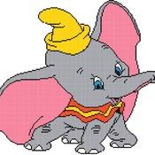 counted cross stitch pattern dumbo disney elephant 166*151 stitches CH096