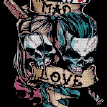 counted cross stitch pattern Joker and Harley Quinn 139*182 stitches CH1477