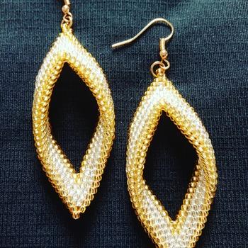 Handmade Gold Silver Folded Earrings Jewellery