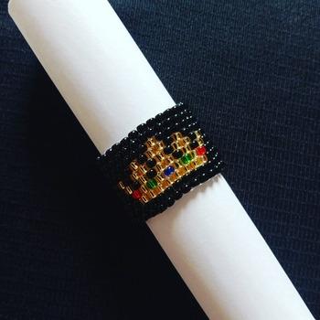 Handmade Golden Black Crown Ring Jewellery