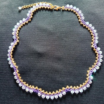 Handmade Golden Purple Crystal Necklace Jewellery