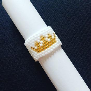 Handmade Golden White Crown Ring Jewellery