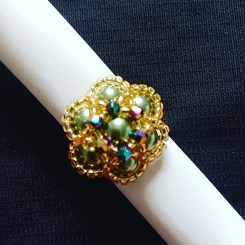 Handmade Green Pearl Crystal Gold Flower Ring Jewellery