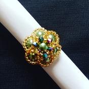 Handmade Green Pearl Crystal Gold Flower Ring Jewellery