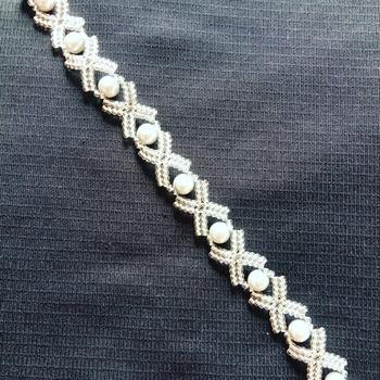 Handmade Grey Pearl Silver X Bracelet Jewellery