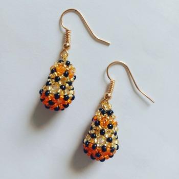 Handmade Orange Black Gold Teardrop Earring Jewellery