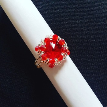 Handmade Red Crystal Silver Round Ring Jewellery