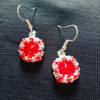 Handmade Red Crystal Silver Round Earrings Jewellery