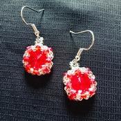 Handmade Red Crystal Silver Round Earrings Jewellery