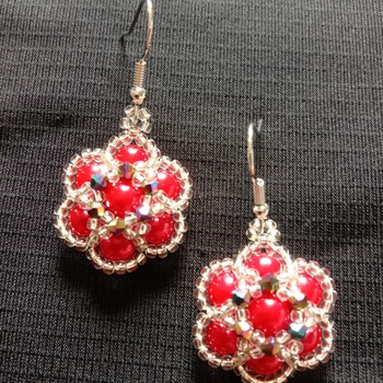 Handmade Red Pearl Crystal Flower Earrings Jewellery