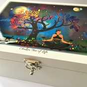 CHAKRA TREE of LIFE Wooden Box with Original Galactic Spiritual Artwork. Wooden Storage Box. Spiritual Décor and Gift by Livz Design.
