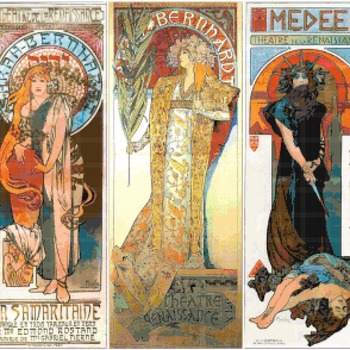 counted cross stitch pattern 3 theatre Mucha stained 313 * 292 stitches CH2355