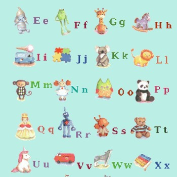 Counted cross stitch pattern Alphabet ABC characters 278*397 stitches CH924