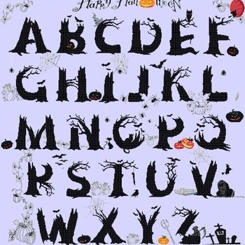 counted cross stitch pattern halloween ABC alphabet 461*489 stitches CH1232