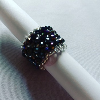 Handmade Black Crystal Silver Band Ring Jewellery