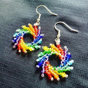 Handmade Rainbow Spiral Earrings Jewellery