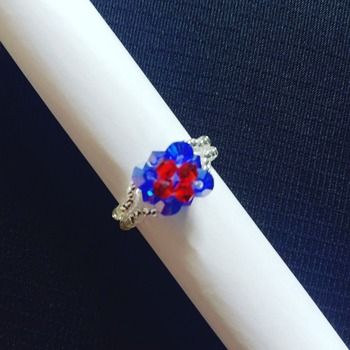 Handmade Red Blue Square Ring Jewellery