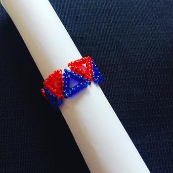 Handmade Red Blue Triangle Ring Jewellery