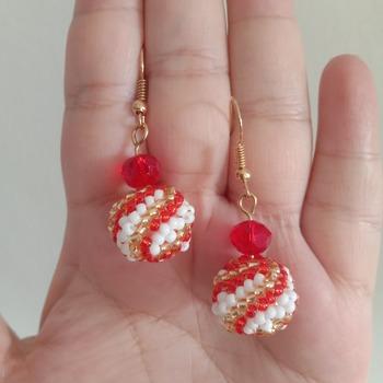 Handmade Red White Gold Spiral Beaded Ball Earring Jewellery