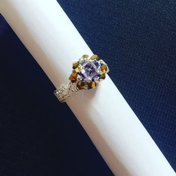 Handmade Violet Gold Square Diamond Shape Ring Jewellery