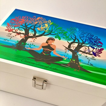 TREE of LIFE Wooden Box. Original Spiritual Artwork. Felt Lined & Mirror. Jewellery, Makeup or Storage Box. Spiritual Décor.