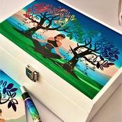 TREE of LIFE Wooden Box. Original Spiritual Artwork. Felt Lined & Mirror. Jewellery, Makeup or Storage Box. Spiritual Décor.