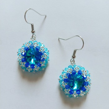 Handmade Aquamarine Blue Crystal Round Earrings Jewellery
