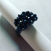 Handmade Black Crystal Landscape Rectangle Ring Jewellery