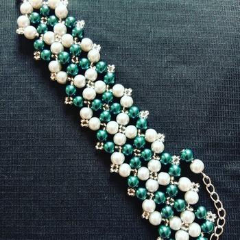 Handmade Dark Green Grey Pearl Silver Bracelet Jewellery