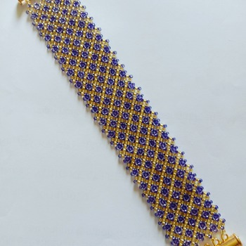 Handmade Gold Purple Diamond Shape Netting Bracelet Jewellery