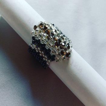 Handmade Grey Crystal Silver Black Ring Jewellery