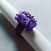 Handmade Purple Crystal Straight Rectangle Ring Jewellery