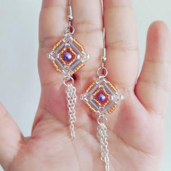 Handmade Purple Pearl Gold Silver Diamond Shape Earrings