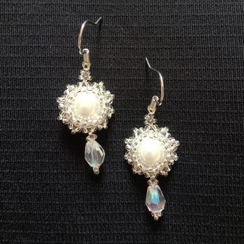Handmade White Pearl Moon Earrings Jewellery