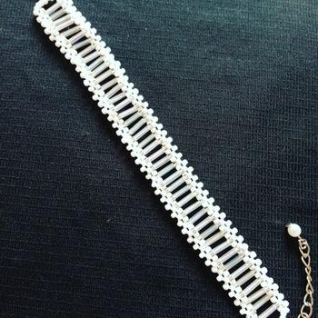 Handmade White Stripes Flat Bracelet Jewellery