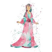 princess mulan watercolor counted cross stitch pattern 90*144 stitches CH1873