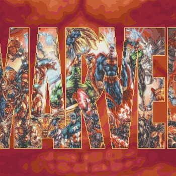 conted cross stitch pattern marvel logo with characters 441*290 stitches CH952
