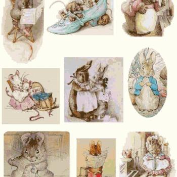 counted cross stitch pattern nine scene bunny B. Potter 287*347 stitches CH1147