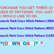 ( CRAFTS )  Jurassic Park Cross Stitch Pattern***L@@K***Buyers Can Download Your Pattern As Soon As They Complete The Purchase