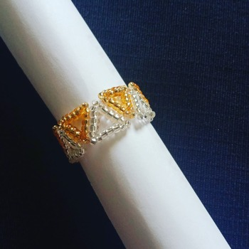 Handmade Gold Silver Triangle Ring Jewellery