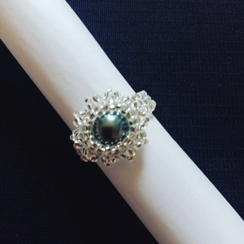 Handmade Grey Pearl Round Ring Jewellery