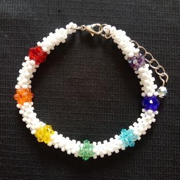 Handmade Rainbow White Tubular Bracelet Jewellery