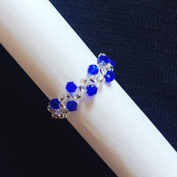 Handmade Royal Blue Crystal Silver Vine Ring Jewellery