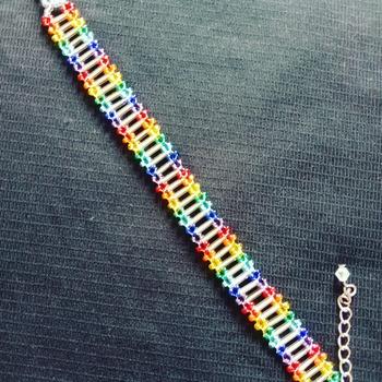 Handmade Two Line Rainbow Silver Stripe Bracelet Jewellery