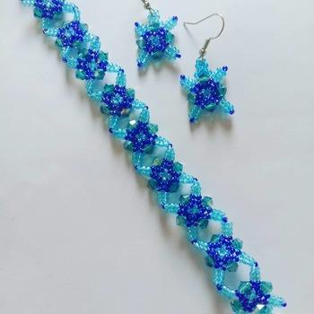 Handmade Blue Crystal Criss Cross Diamond Shape Bracelet Earrings Jewellery