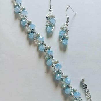 Handmade Blue Grey Crystal Grey Pearl Silver Vine Bracelet Earrings Jewellery