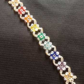 Handmade Crystal Criss Cross Diamond Shape Rainbow Bracelet Jewellery