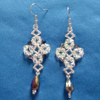 Handmade Crystal Diamond Shape Teardrop Earrings Jewellery