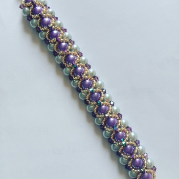 Handmade Purple Grey Pearl Crystal Gold Vintage Bracelet Jewellery