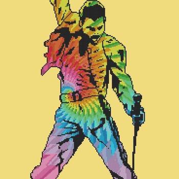 Counted Cross Stitch pattern Freddie Mercury singer 182*300 stitches BN2069